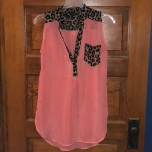Rue 21 Sleeveless Coral Blouse with Cheetah Print